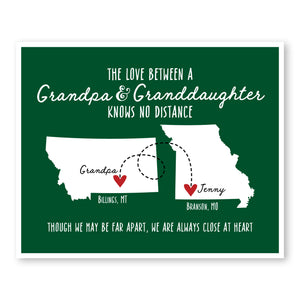 Grandpa and Granddaughter Long Distance Map