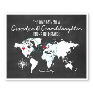 Grandpa and Granddaughter World Map