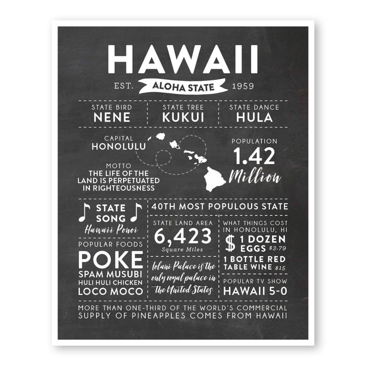 Hawaii State Infographic wall art print