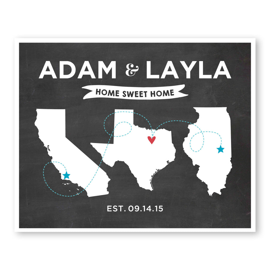 Unique Wedding Gifts Home Sweet Home Couple Map