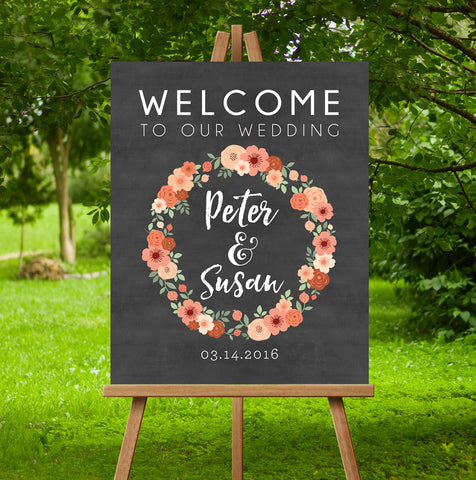 Floral Wreath Wedding Sign