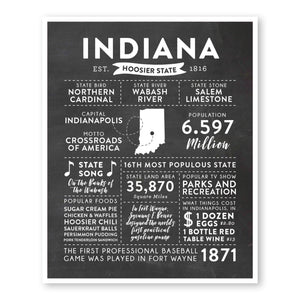 Indiana State Infographic wall art print