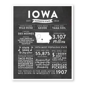 Iowa State Infographic wall art print
