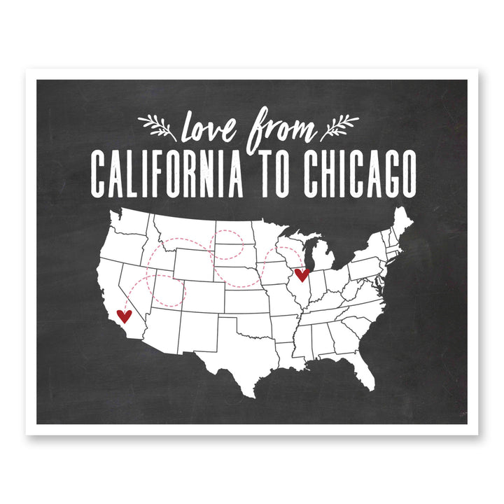 Long Distance Gifts Love From State to State Map