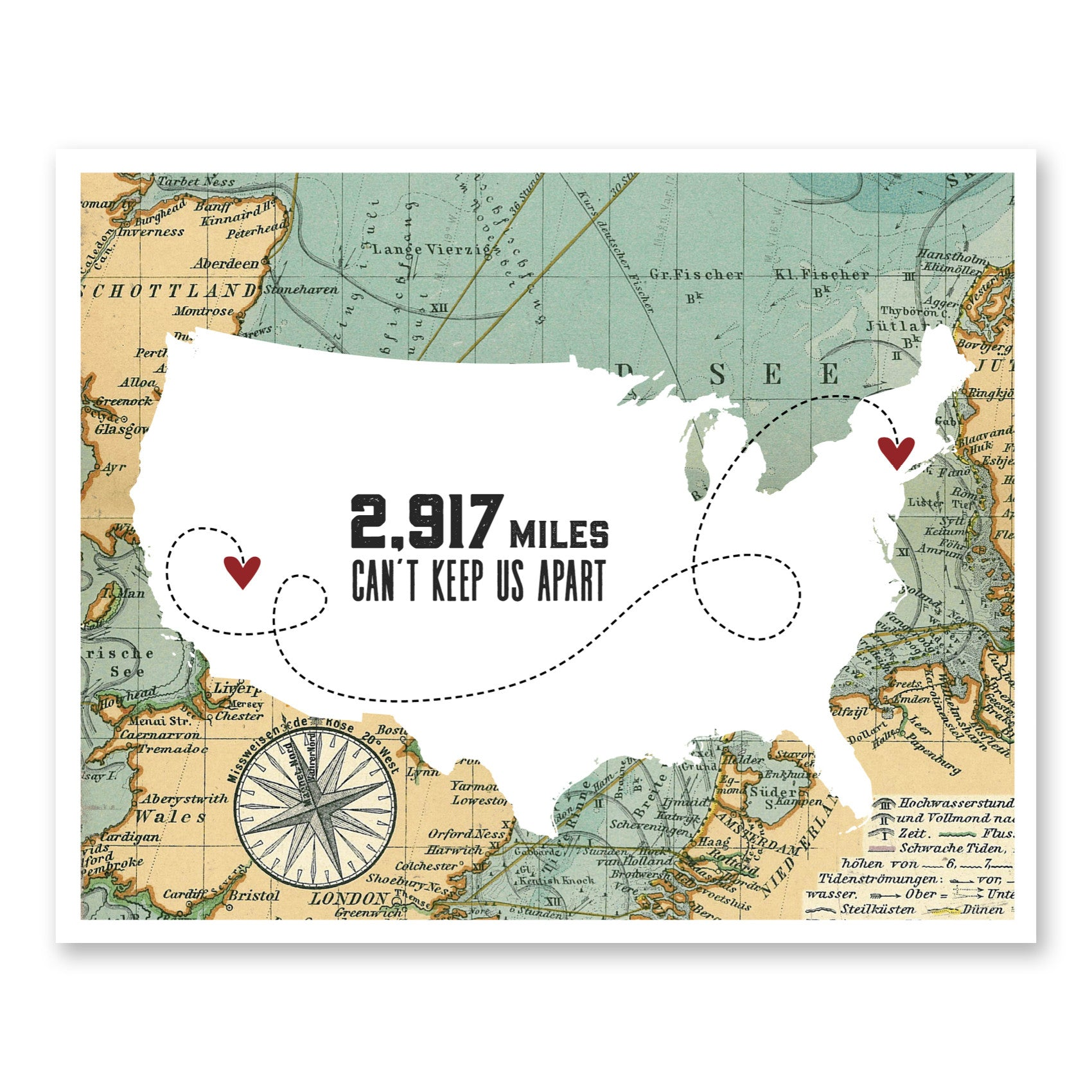 Long Distance Relationship Gifts For Him | Vintage Long Distance Map ...