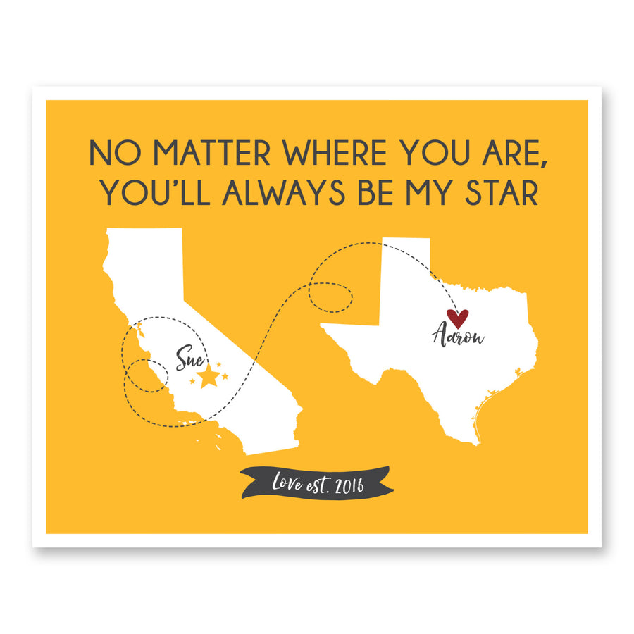 Long Distance Relationship Map You'll Always Be My Star