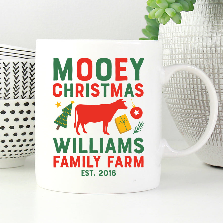 Personalized Mooey Christmas Family Farm Mug