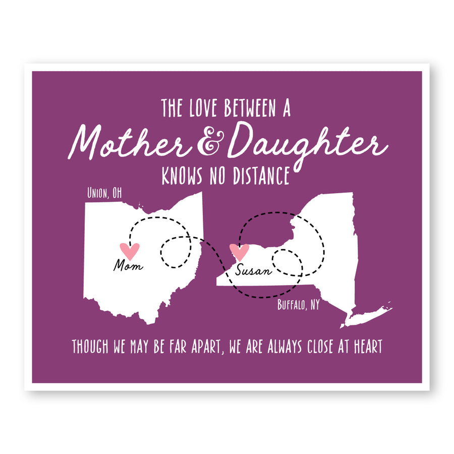 Mother and Daughter Long Distance Map