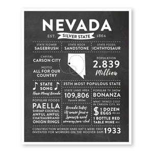Nevada State Infographic wall art print