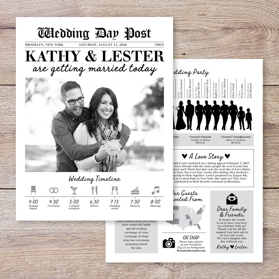 Newspaper Wedding Program with Silhouettes