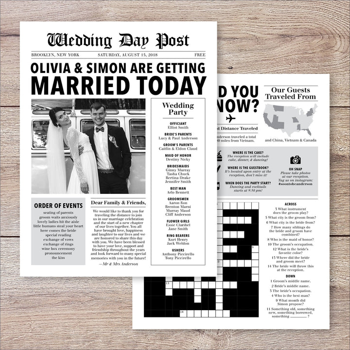 Newspaper Wedding Program