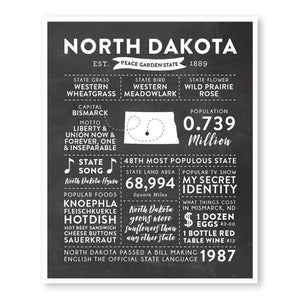 North Dakota State Infographic wall art print