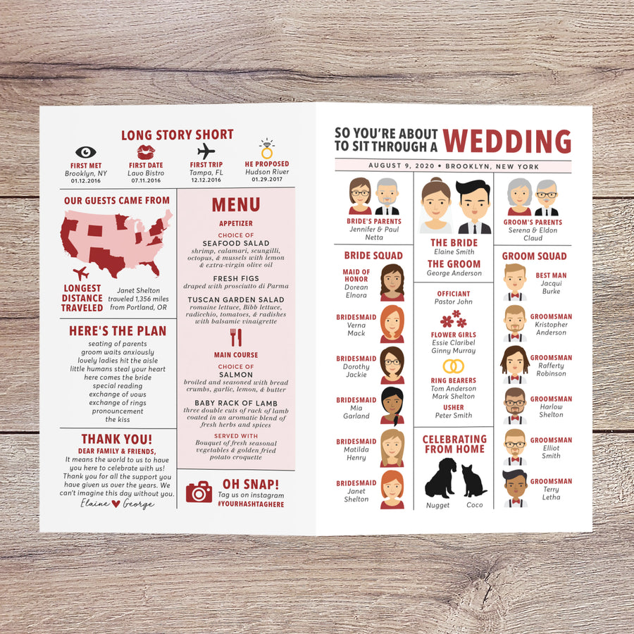 Bi-fold Wedding Program with Portraits