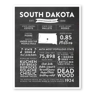 South Dakota State Infographic wall art print