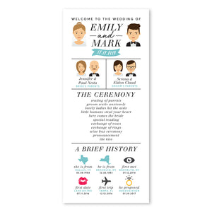 Mint Wedding Program with Portraits