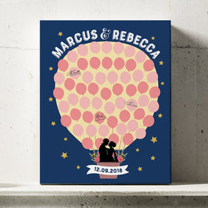 customizable hot air balloon in a starry night scene setting wedding guest book alternative