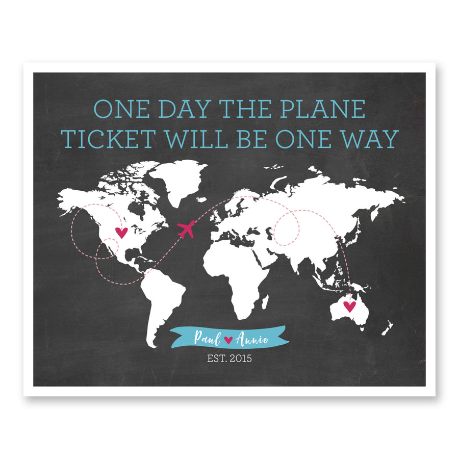 Long Distance Relationship Gifts One day the Plane Ticket will be one way