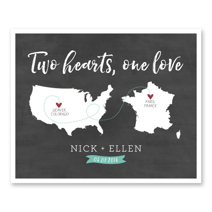 Two Hearts One Love Long Distance Love Map