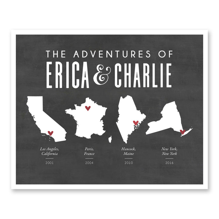Gifts For Travelers Him + Her Travel Adventures Map