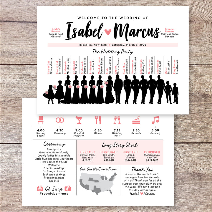 Silhouette Wedding Party Program