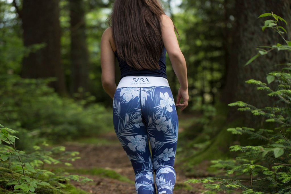 Woman running leggings that stay in place