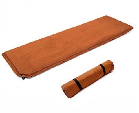 Self Inflating Mat - Suede camping mattress for hammock or tent camping.