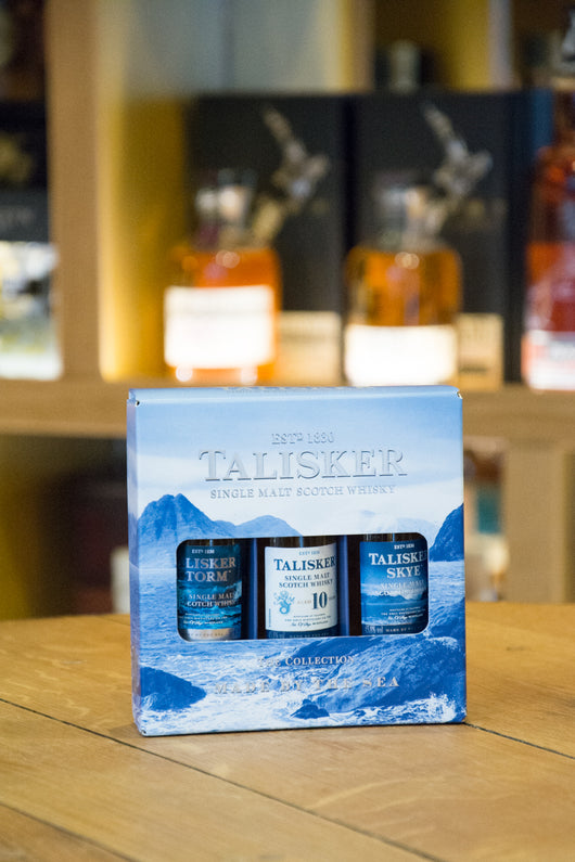 Talisker Skye Whisky gift set of three Front