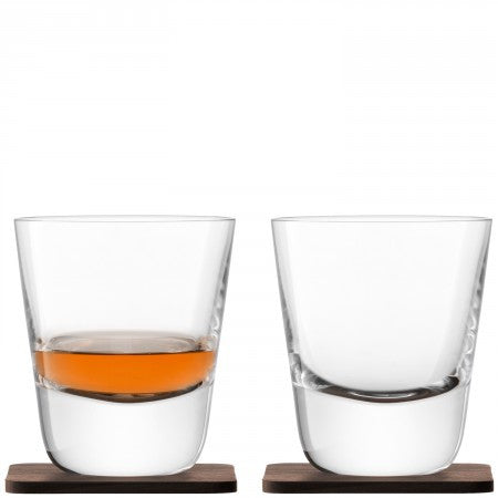 Whisky Arran Tumbler & Walnut Coaster x 2