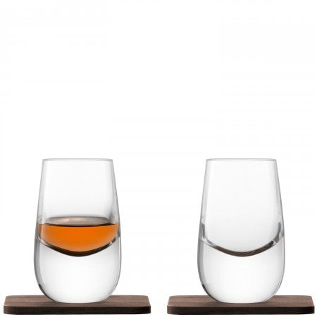 Whisky Islay Shot Glass & Walnut Coaster x 2