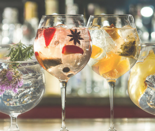 Gin Cocktails in Glasses with fruits and ice