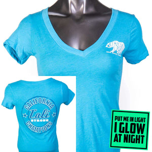 Bear Champ V T-Shirt Heather Turquoise Glow - T-Shirt - CALI Strong