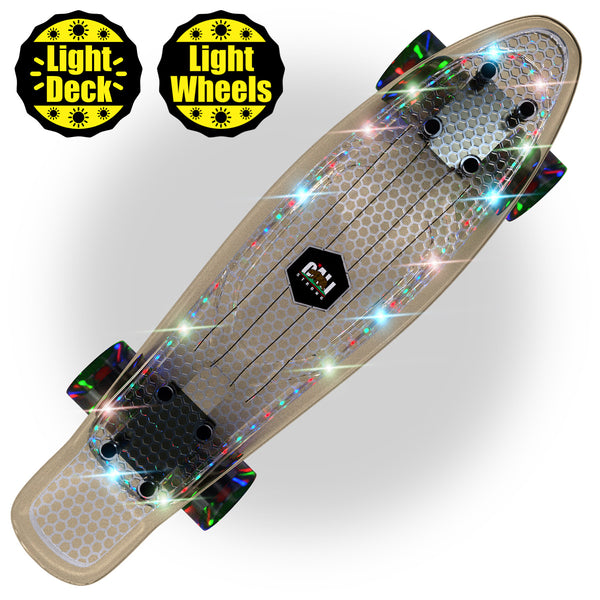 "CALI Strong LED Light Clear Penny Board Style 22"" Mini Cruiser & LED Light Wheels - Banana Boards - CALI Strong"