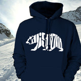 CALI Strong Word Bear White Navy Hoodie Sweatshirt - Hoodie - CALI Strong