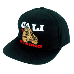 CALI Strong Mean Bear Flat Bill Snapback Cap