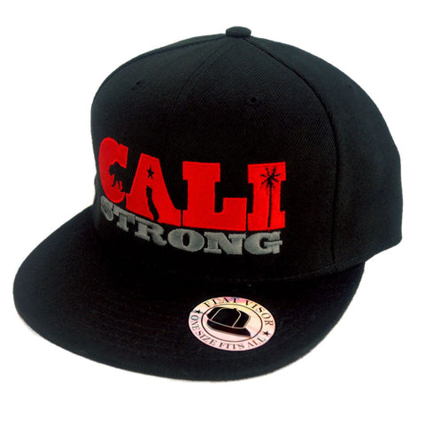 CALI Strong State Red Black Flat Bill Snapback Cap - Headwear - CALI Strong