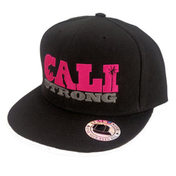 CALI Strong State Pink Black Flat Bill Snapback Cap