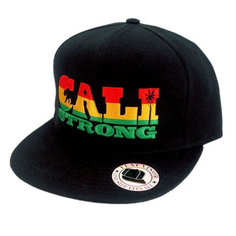 CALI Strong State Rasta Flat Bill Snapback Cap - Headwear - CALI Strong