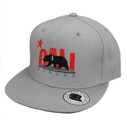 CALI Strong Original Grey Bear Flat Bill Snapback Cap