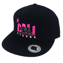 CALI Strong Pink Black Flat Bill Snapback Cap