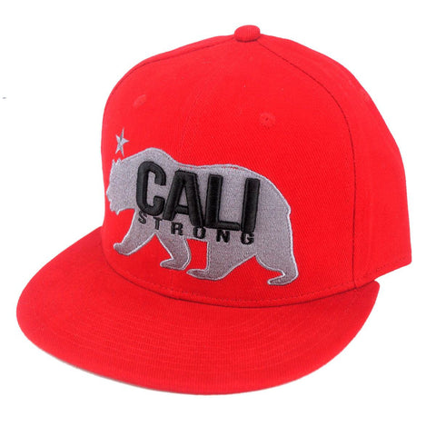 CALI Strong West Coast Grey Red Flat Bill Snapback Cap - Headwear - CALI Strong