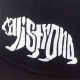 CALI Strong Word Bear White Black Flat Bill Snapback Cap - Headwear - CALI Strong