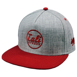 CALI Classic Red Grey Heather Flat Bill Snapback - Headwear - CALI Strong