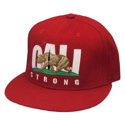 CALI Strong Original Red Flat Bill Snapback Cap