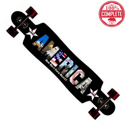 "How Big's Your Brave AMERICA Longboard Drop Through Complete 9.5"" x 42.75"""