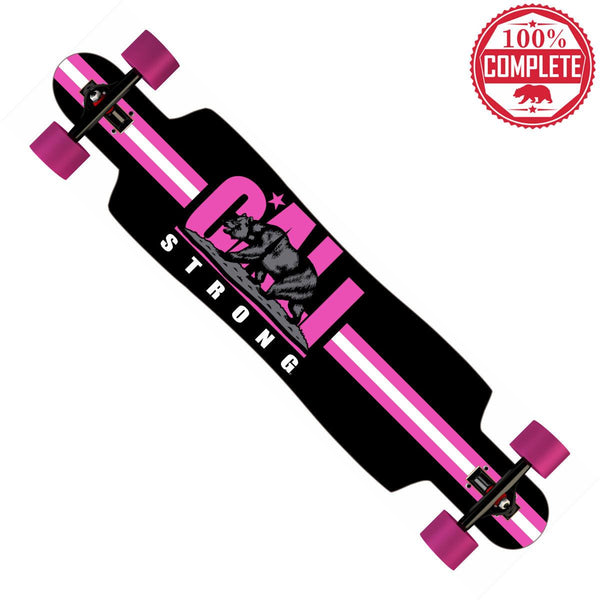 "CALI Strong Original Pink Longboard Drop Through Complete 9.5"" x 42.75"" - Drop Through Longboard - CALI Strong"