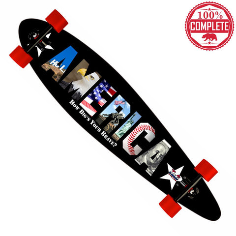 "How Big's Your Brave AMERICA Longboard Pintail Complete 9.25"" x 39.25"" - Pintail Longboard - CALI Strong"