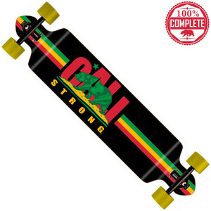 "CALI Strong Rasta Longboard Double Drop Through Complete 9"" x 41"" - Double Drop Longboard - CALI Strong"