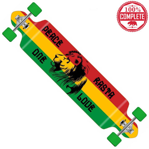 "Freedom Rasta Longboard Double Drop Through Complete 9"" x 41"" - Double Drop Longboard - CALI Strong"