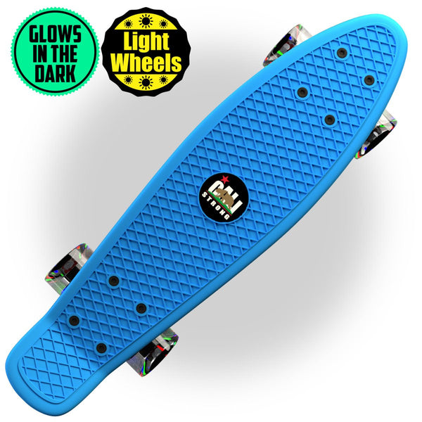 "Glow-in-Dark Blue Penny Board Style 22"" Mini Cruiser & LED Light Wheels - Banana Boards - CALI Strong"