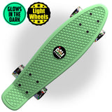 "Glow-in-Dark Green Penny Board Style 22"" Mini Cruiser & LED Light Wheels - Banana Boards - CALI Strong"